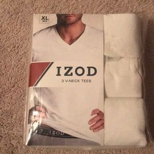 IZOD 3 Pack V-Neck tees - Size XL - White- NWT